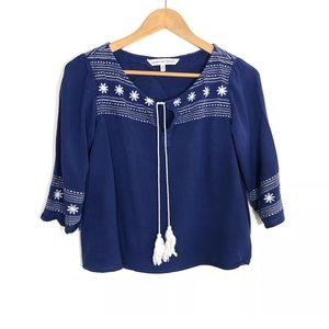 CUPCAKES AND CASHMERE Small Embroidered Boho Top